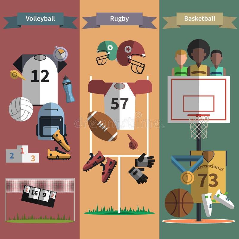 De verticale geplaatste banners van de teamsport stock illustratie