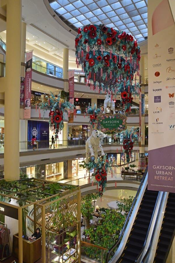 De verticale mening van Gaysorn-Winkelcomplex in Bangkok op het Ratchaprasong-gebied met overvloed van luxe internationaal merk w stock foto's