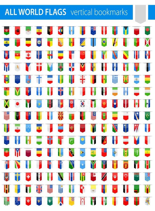 De verticale Pictogrammen van de Referentievlag - Al Wereldvector royalty-vrije illustratie