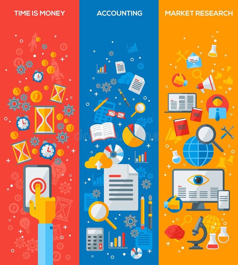 De verticale Vlakke Pictogrammen van het Bedrijfsbannersconcept stock illustratie