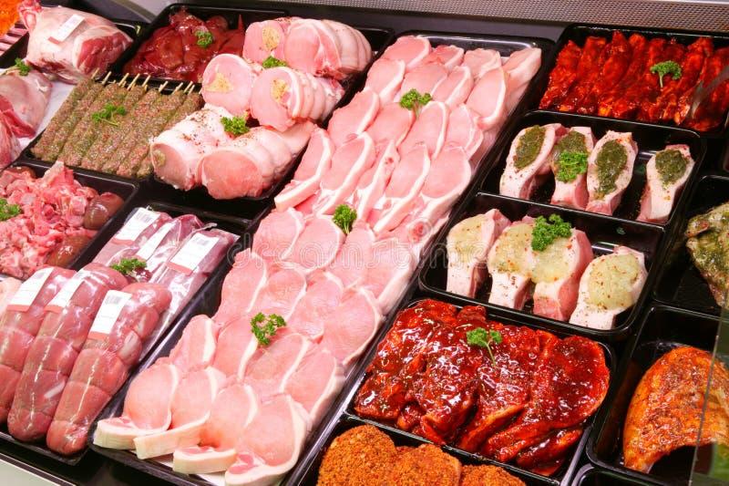 De Vertoning van het varkensvlees in Slagerij royalty-vrije stock foto
