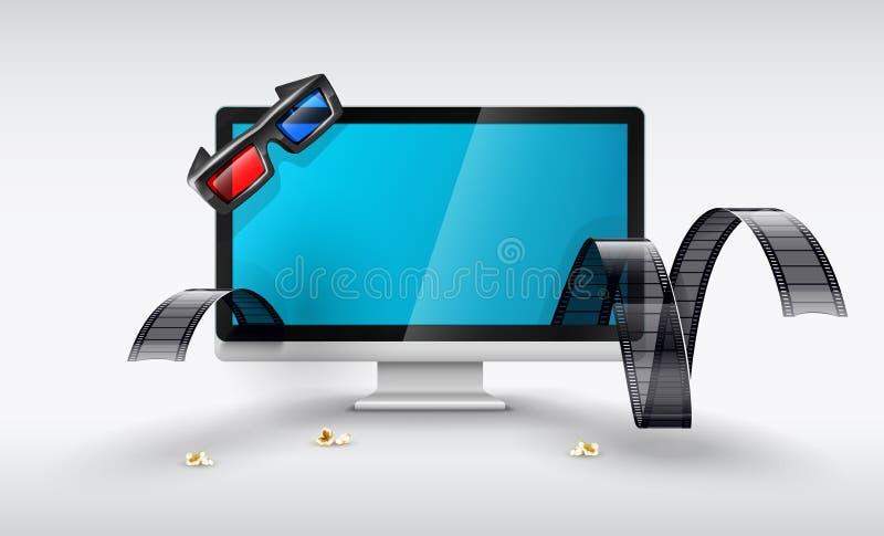 De vertoning van verschillende media voor online op het letten films stock illustratie