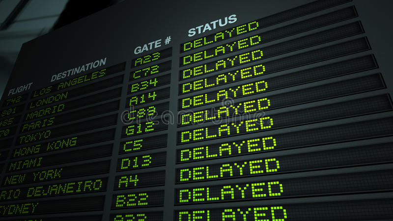 De Vertraagde Raad van de Informatie van de Vlucht van de luchthaven, stock illustratie