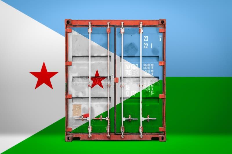 De vervoerende container met de nationale vlag royalty-vrije stock afbeeldingen