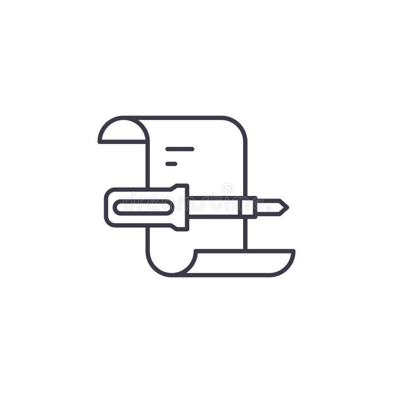 De vervulde werken melden lineair pictogramconcept Vervuld de lijn vectorteken van het de werkenrapport, symbool, illustratie vector illustratie