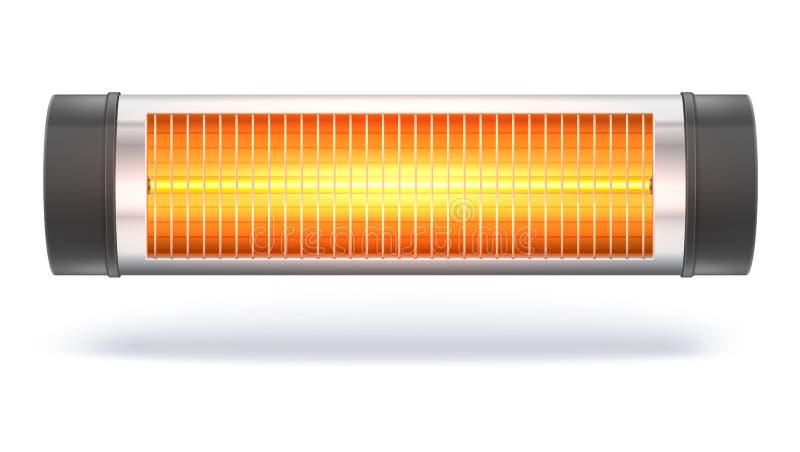 De verwarmer van het kwartshalogeen met de gloeiende lamp, binnenlandse straalkachel stock illustratie