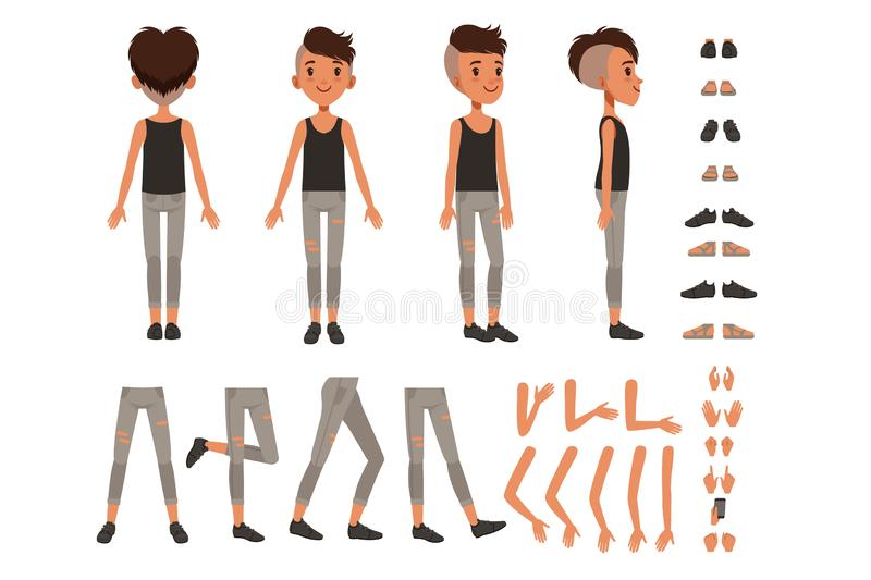 De de verwezenlijkingsreeks van het jongenskarakter, de aannemer van de studentenjongen met verschillend stelt, gebaren, schoenen vector illustratie