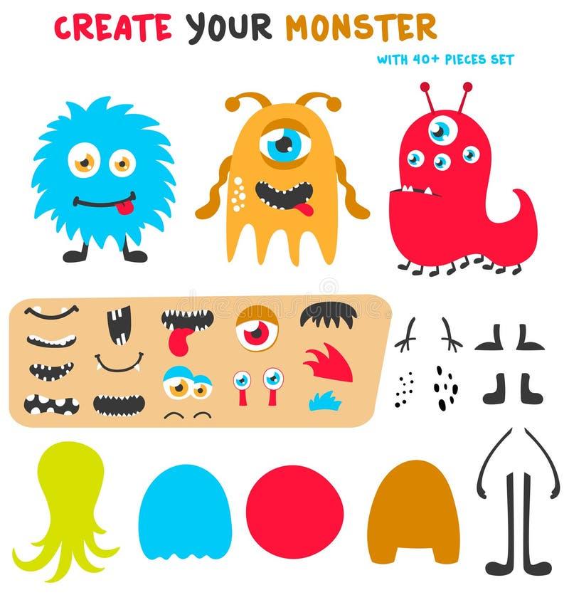 De verwezenlijkingsuitrusting van beeldverhaal grappige monsters Creeer uw eigen monsterreeks Vector illustratie vector illustratie