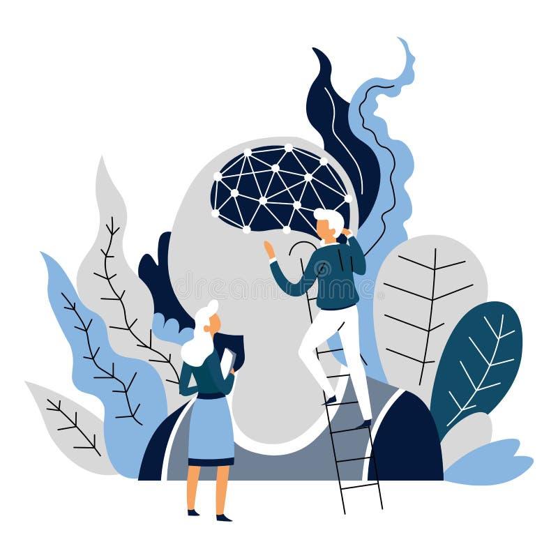 De verwezenlijkingswetenschappers van de kunstmatige intelligentierobot en neuraal netwerk vector illustratie