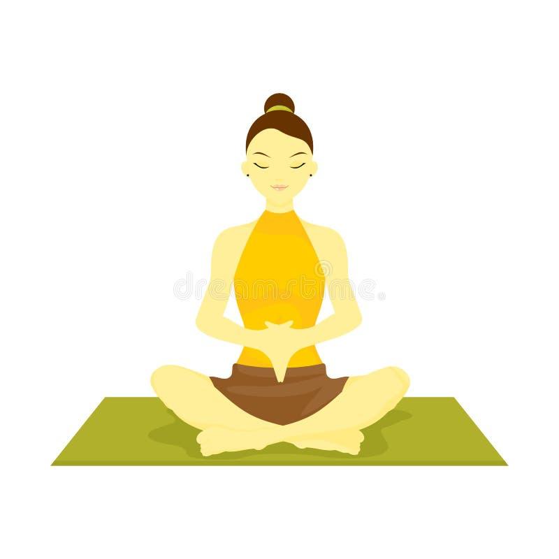 De verwezenlijkte hand onderaan gebed stelt yogameditatie vector illustratie