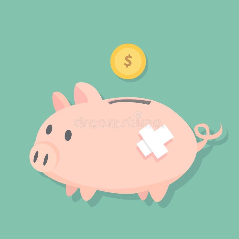 De verwonde tribune van het Spaarvarken op het vloer en dollarmuntstuk zal aan de muntstukgroef, leuk varkens vlak ontwerp vullen royalty-vrije illustratie