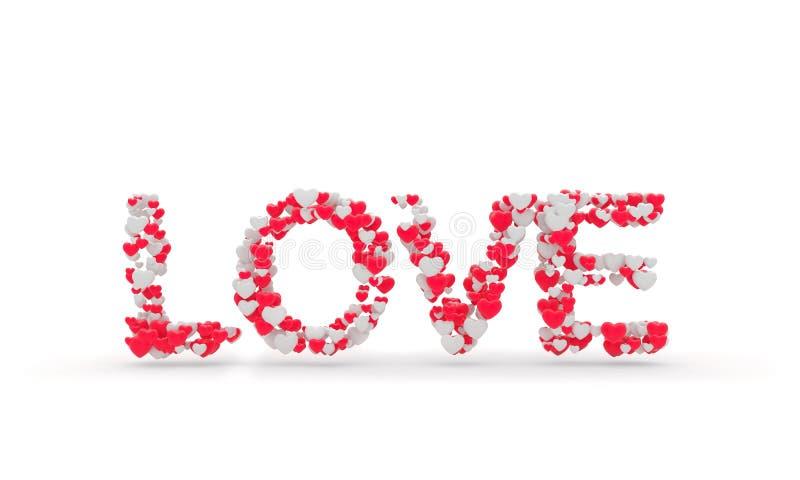 De verwoording van Liefdeteken met hart 3d geef illustratie terug vector illustratie