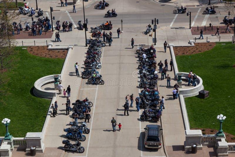 De Verzameling van de motorfietsvoorlichting bij Hoofdvierkant royalty-vrije stock afbeeldingen