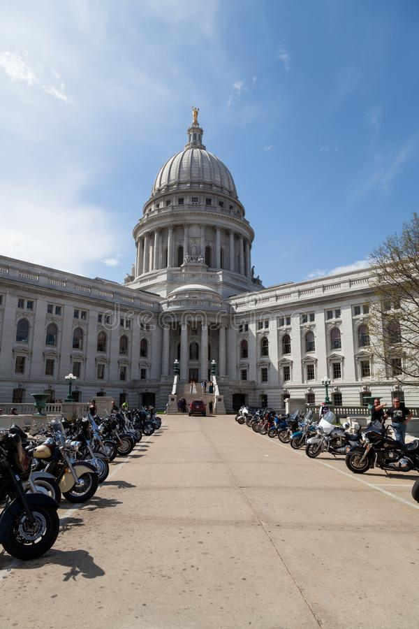 De Verzameling van de motorfietsvoorlichting bij Hoofdvierkant royalty-vrije stock foto's