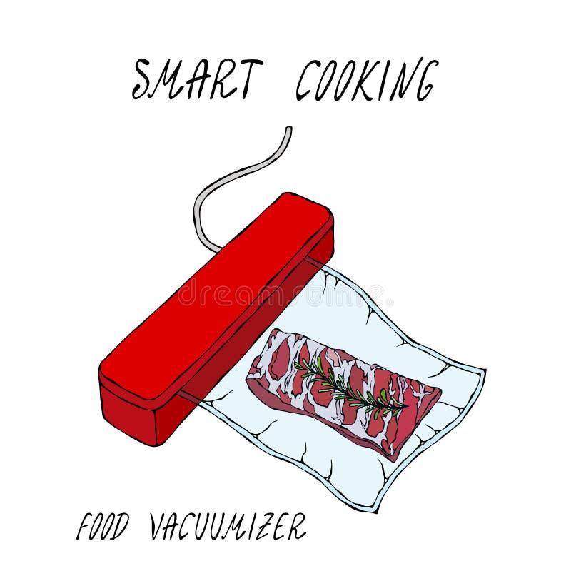 De Verzegelaar van het Vacuumizervoedsel Wat sous-Vide is Langzame het Koken Technologie Vacuümverpakte Varkensvleesribben Belang stock illustratie