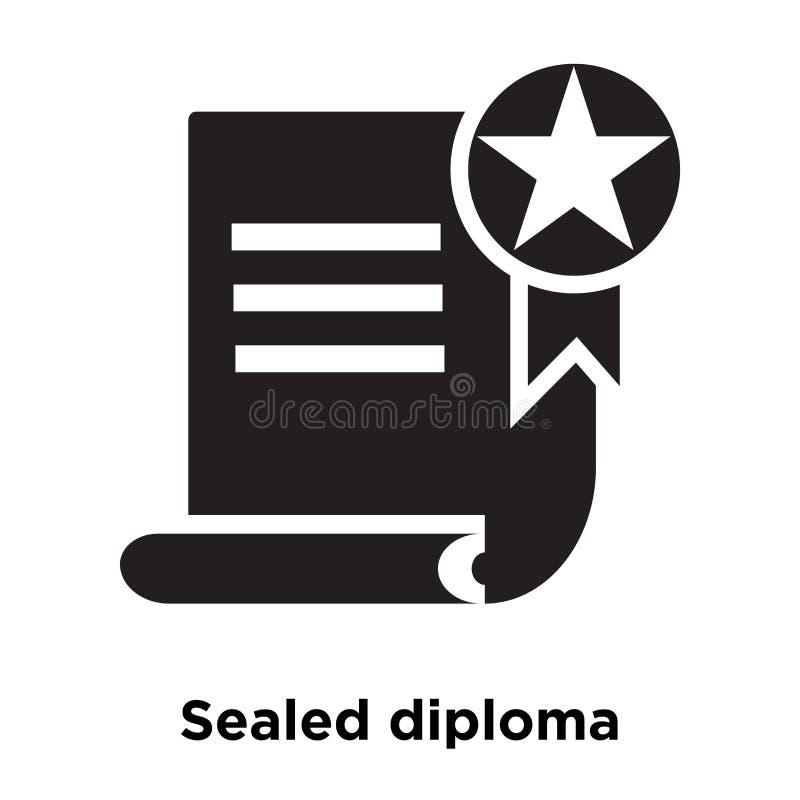De verzegelde die vector van het diplomapictogram op witte achtergrond, mede embleem wordt geïsoleerd stock illustratie