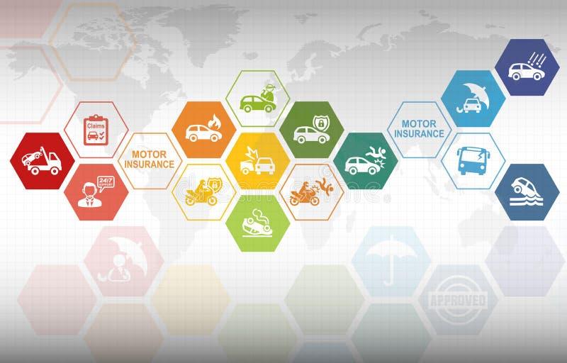 De Verzekeringsachtergrond van motorvoertuigen stock illustratie