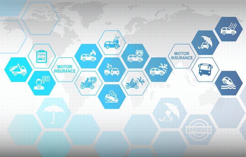 De Verzekeringsachtergrond van motorvoertuigen vector illustratie