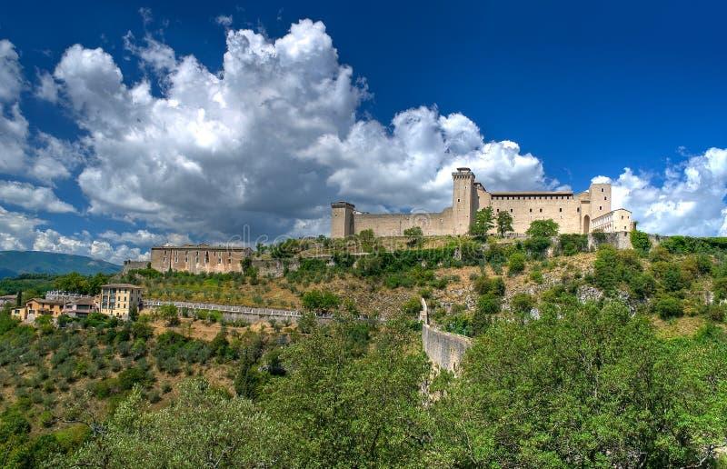 De vesting van Albornoz. Spoleto. Umbrië. stock afbeeldingen