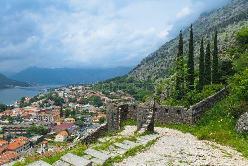 De vesting van heilige John in Kotor stock foto's