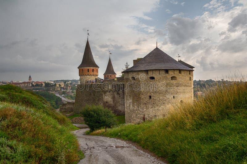 De vesting van Kamieniecpodolski - één van de beroemdste en mooie kastelen royalty-vrije stock foto's