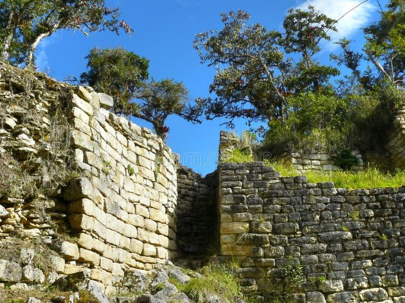 De Vesting van Kuelap, Chachapoyas, Amazonas, Peru. stock foto's