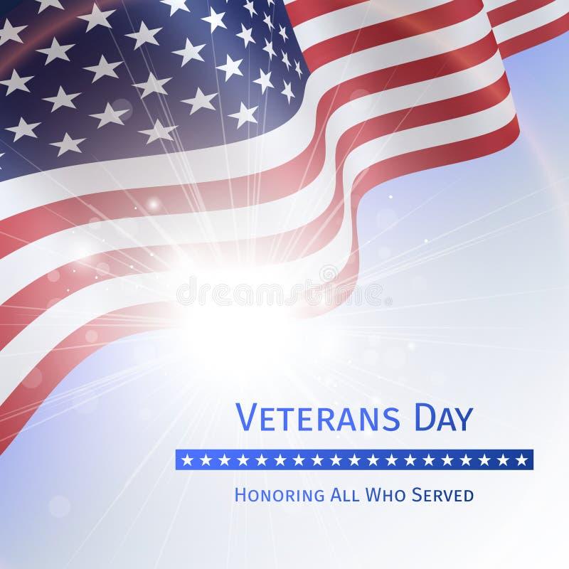 De veteranendag, herinnert zich en eert - affiche met de vlag van U vector illustratie