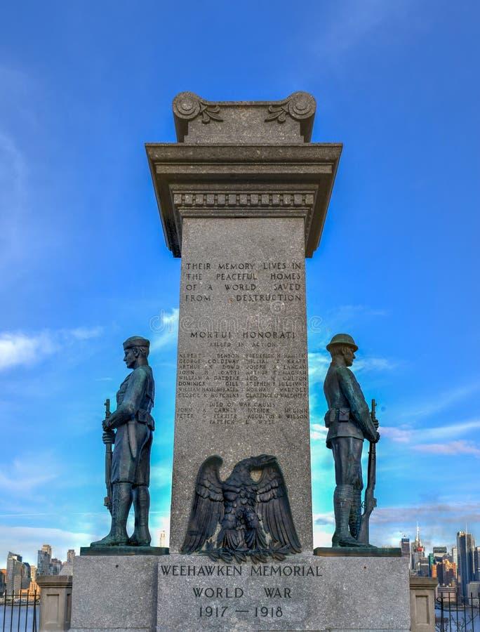 De Veteranengedenkteken van de Weehawkenwereldoorlog i - Weehawken, NJ stock foto