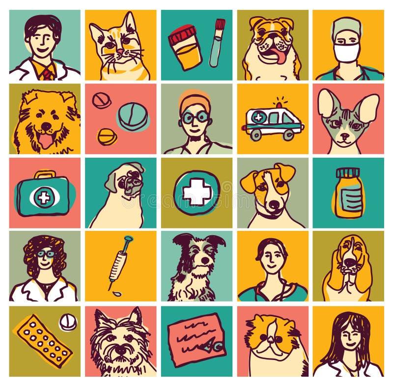 De veterinaire geplaatste pictogrammen en de voorwerpen van artsenhuisdieren stock illustratie