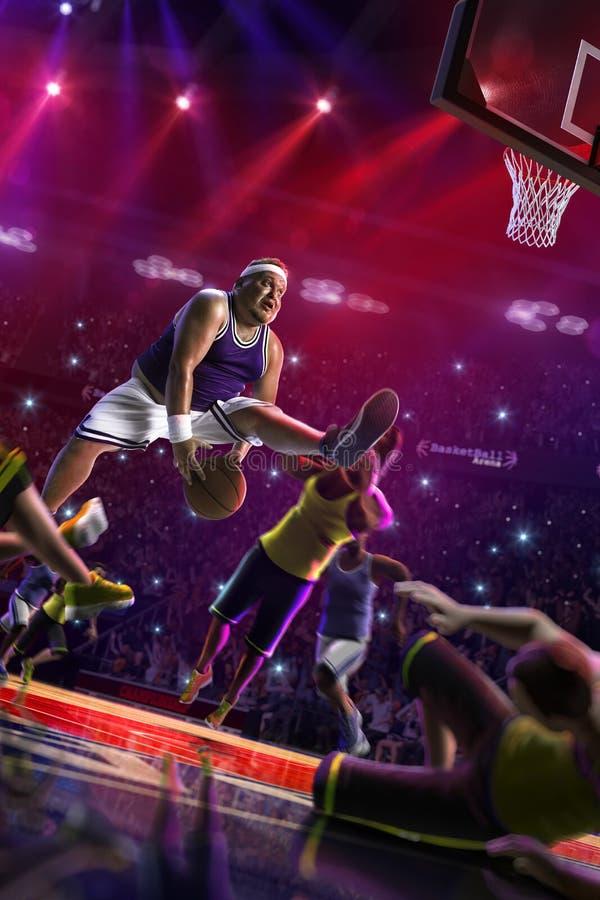 De vette Basketbal niet professionele speler in actie, het hof en vijandelijke 3d geven terug royalty-vrije stock afbeeldingen