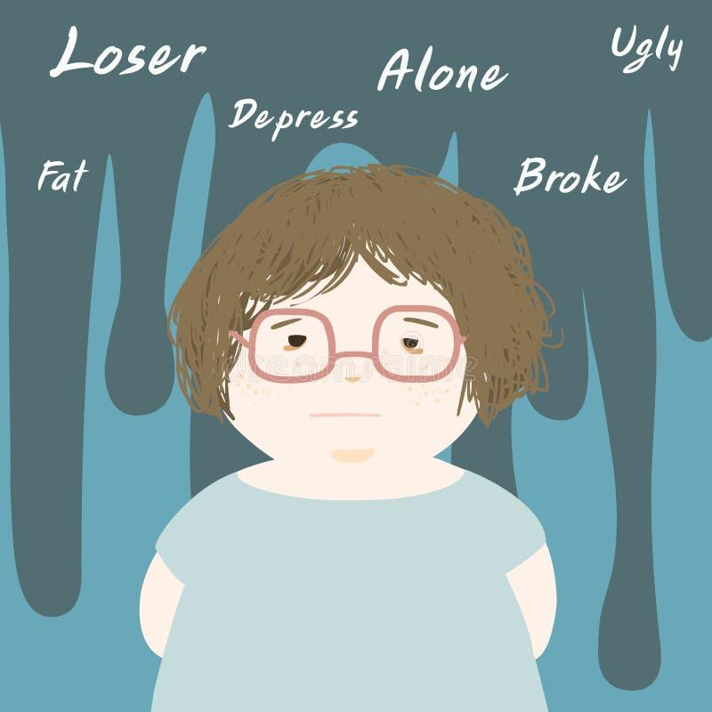 De vette droevige vrouw en denkt negatief vector illustratie