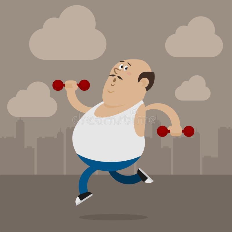 De vette mens gaat binnen voor sporten stock illustratie