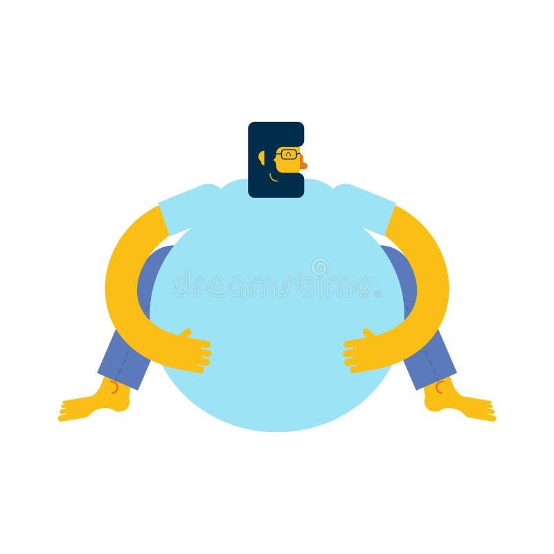 De vette mens zit Te zware mens Vector illustratie royalty-vrije illustratie