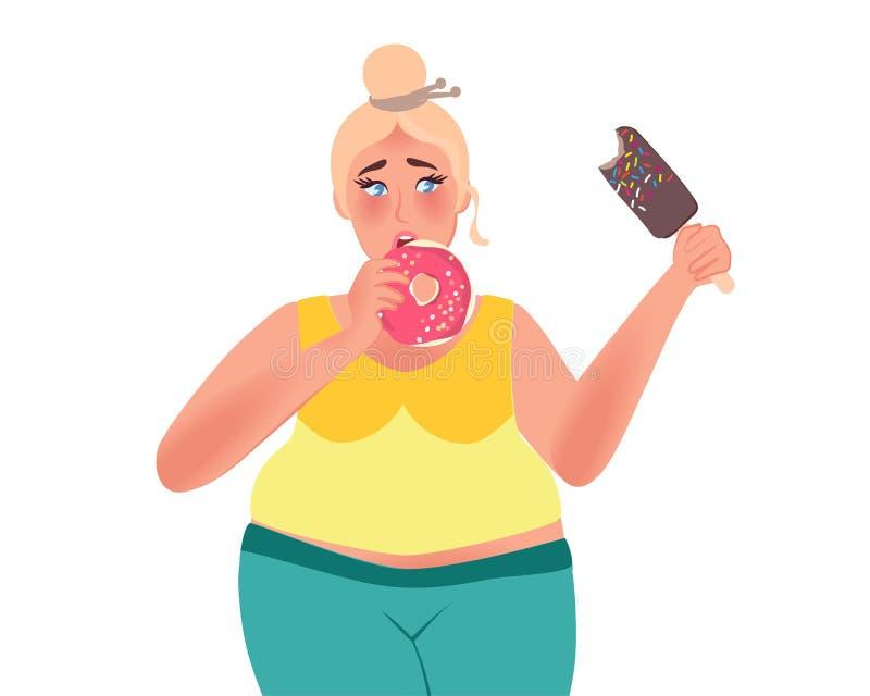 De vette vrouw eet donuts en roomijs Ongezonde kost Vectorillustratie van zwaarlijvigheid stock illustratie