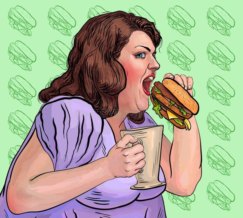 De vette vrouw eet een hamburger stock illustratie