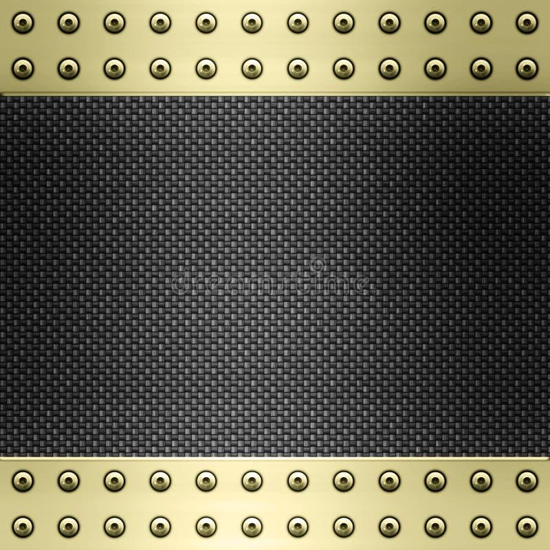 De vezel van de koolstof en gouden achtergrond royalty-vrije illustratie