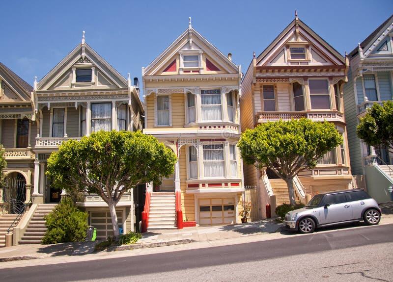 De Victoriaanse huizen van San Francisco stock fotografie