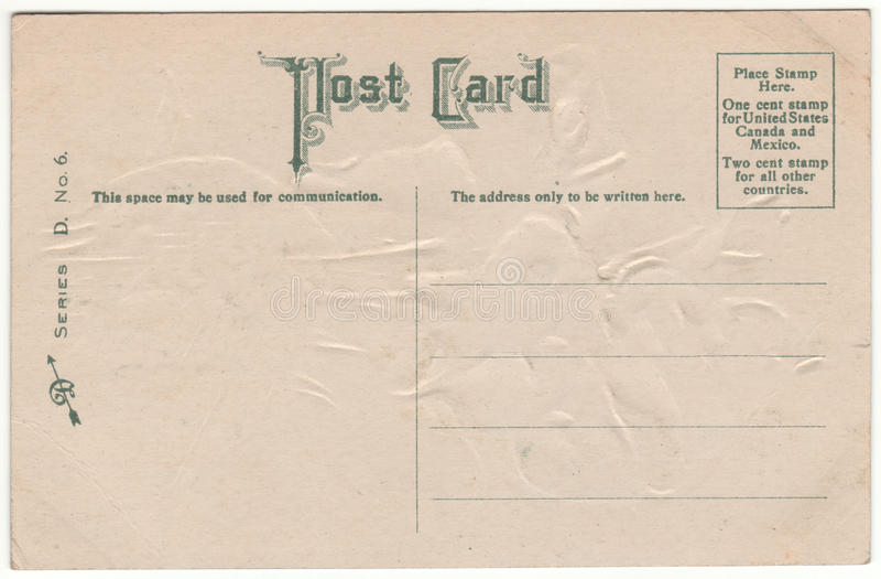 De Victoriaanse Prentbriefkaar Achter Groene Doopvont van 1910 royalty-vrije stock fotografie