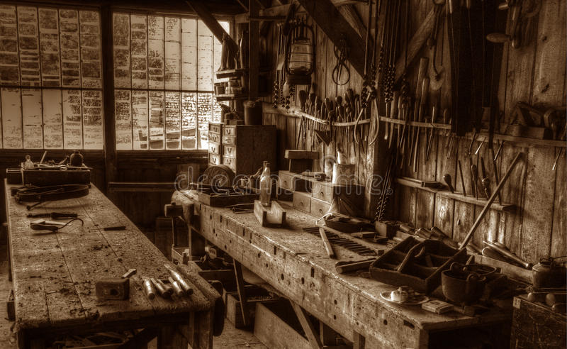 De Victoriaanse Workshop van de Timmerman stock foto's