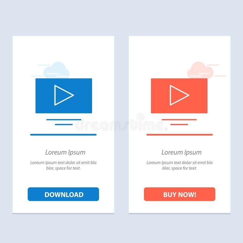 De video, het Spel, de Blauwe en Rode Download van YouTube en kopen nu de Kaartmalplaatje van Webwidget stock illustratie