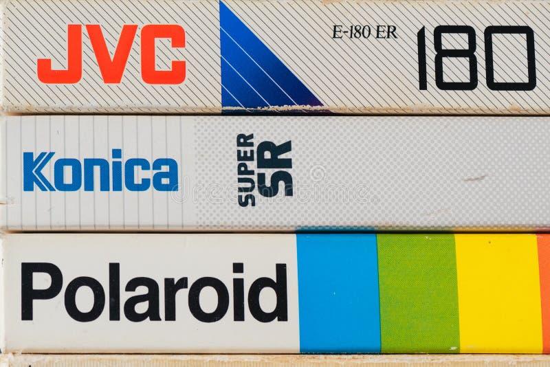 De videocassettes van VHS, retro videotechnologie royalty-vrije stock foto