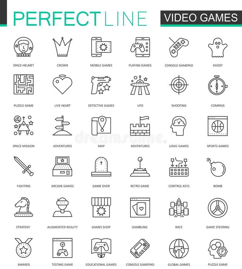 De videospelletjes verdunnen geplaatste de pictogrammen van het lijnweb Het mobiele spelapp ontwerp van de slagpictogrammen van h stock illustratie