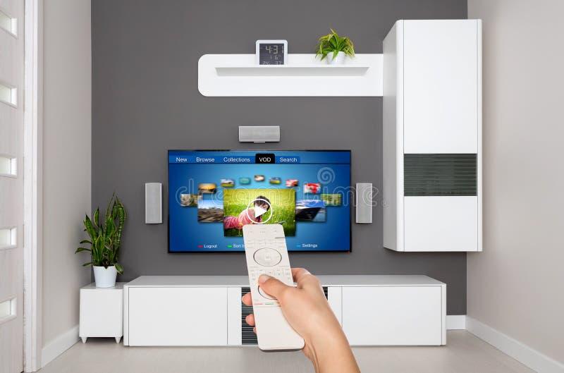 De videovod-dienst op bestelling op TV stock fotografie