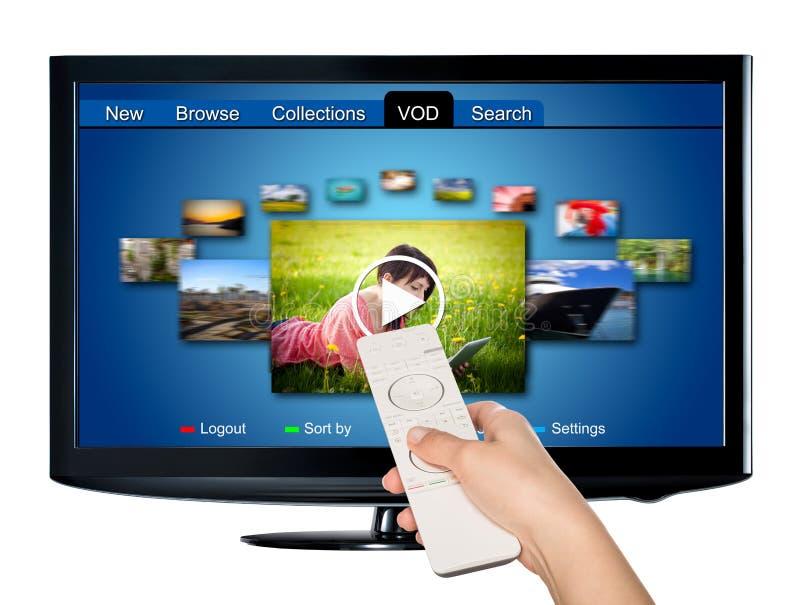 De videovod-dienst op bestelling op TV stock afbeeldingen