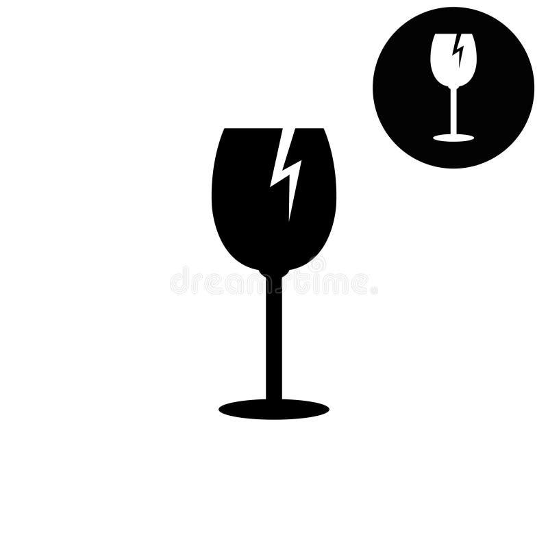De vidro frágil - ícone branco do vetor ilustração do vetor