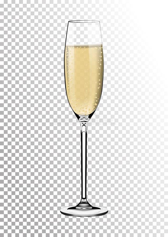 De vidro transparente lustroso realístico completamente de Champagne Palha efervescente saturada brilhante colorida ambarina Veto ilustração do vetor