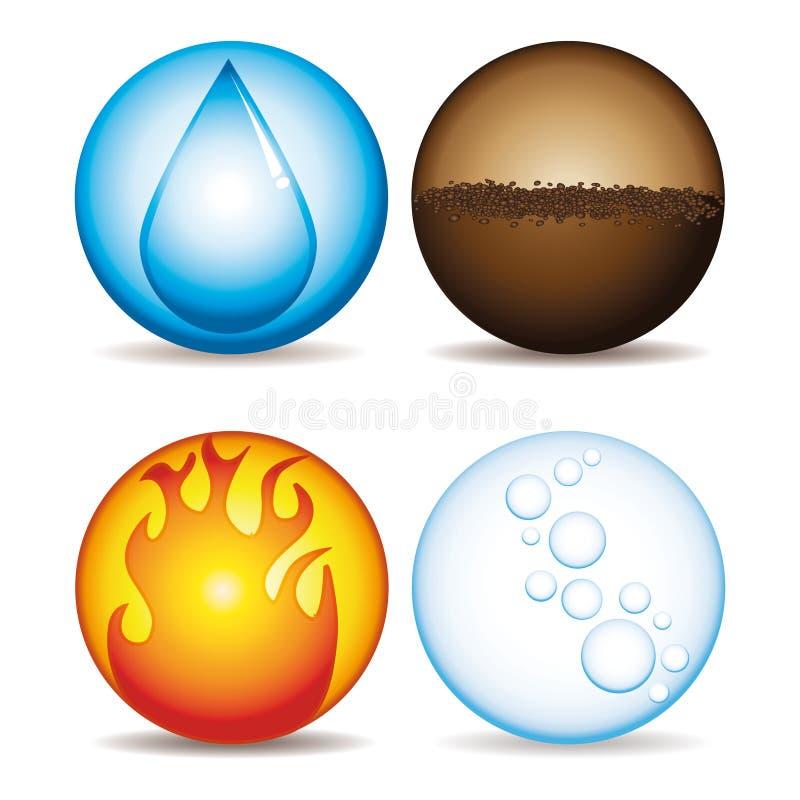 De vier elementen. stock illustratie