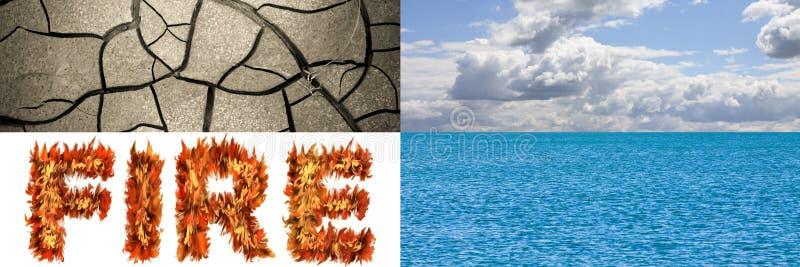 De vier elementen in aard: aarde, lucht, brand, water - conceptenbeeld met exemplaarruimte royalty-vrije stock foto