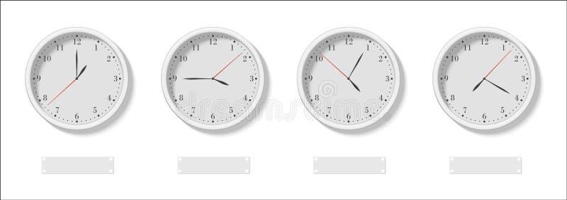 De Vier wijzerplaten met de verschillende tijd en lege tekens onder vectorillustratie vector illustratie