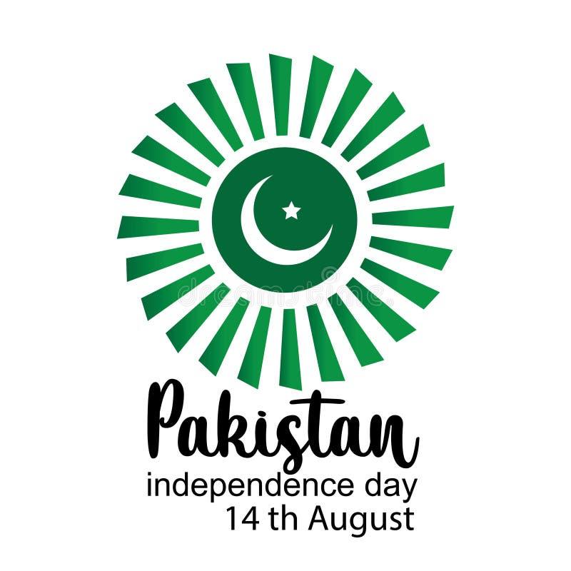 De vierende van de de Onafhankelijkheidsdag van Pakistan creatieve vectorillustratie 14 de onafhankelijkheid van Augustus Pakista royalty-vrije illustratie